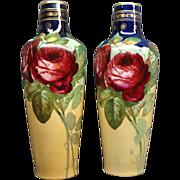 Pair Of Antique Art Nouveau Ernst Wahliss Alexandria Porcelain Works Vienna Vases With Roses