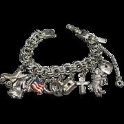 Vintage Monet Silver Tone Chain Charm Bracelet