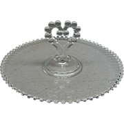 "Imperial Glass Candlewick 11 1/2"" Party Serving Tray With Center Heart Handle"