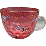 Antique Bohemian Moser Glass Punch Cup With Enamel Painted Flowers