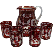 Bohemian Ruby To Clear Etched Glass Lemonade Pitcher and 4 Tumblers