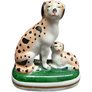 Miniature French Gold Anchor Porcelain Spotted Dog & Puppy Figurine