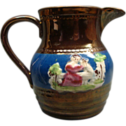 Antique English Copper Lustre Luster Embossed Pitcher Ca 1840's