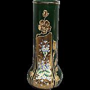 "Antique Emerald Green Bohemian Moser 11 1/4"" Gold Gilded Enamel Painted Vase"