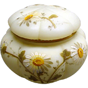Antique Mt Washington Glass Signed Smith Bros. Melon Dressed Powder Box Daisies