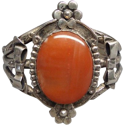 Vintage Native American Silver and Carnelian Cuff Bracelet