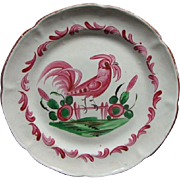 Antique French Faience Plate Bird On A Fence