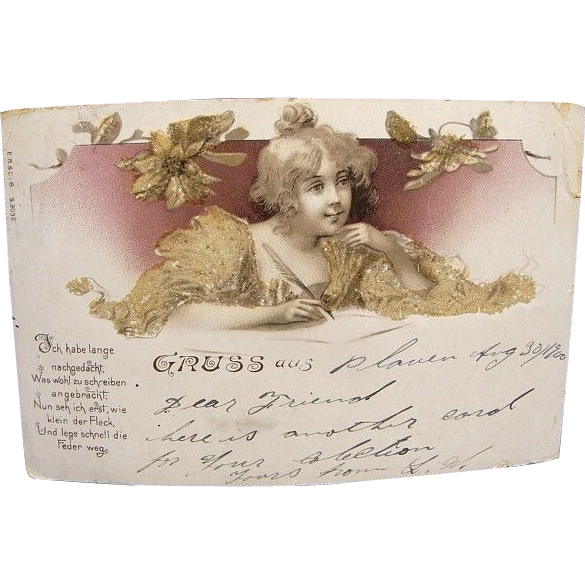 Rare German Greeting Postcard Dated 1900 Pretty Lady Beaded