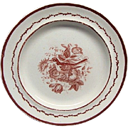 Staffordshire Pearlware Plate With Bird Transfer Wine Color