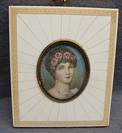 Antique Miniature Painting In Inlaid Frame Portrait Of Josephine