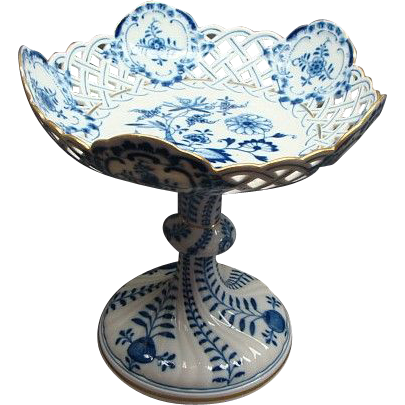 """9"""" Tall Meissen Blue Onion Gilded Pierced Compote"""