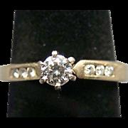 14k Gold Diamond Ring Round Cut Size 8