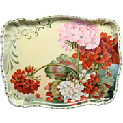 Antique Hand Painted Guerin Limoges Dresser Tray With Geraniums