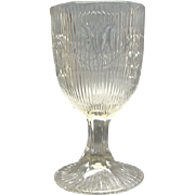 EAPG Pressed Flint Glass Goblet Bellflower Fine Rib McKee Brothers 1860