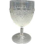 EAPG Pressed Flint Glass Goblet Loop And Dart With Round Ornaments Portland Glass 1869