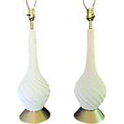 Mid Century Modern Table Lamp Pair White Ceramic Sculptured Spiral Pottery Brass Lamps Quartite Creative Co. 1959
