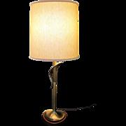 Mid Century Modern Table Lamp Bronze Danish Walnut Panton era Minimalist Artemis Lampshade