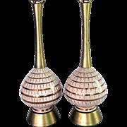 Mid Century Modern Ceramic Pottery Table Lamp Pair 60s Raymor Atomic Eames era