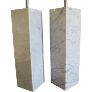 Mid Century Modern White Marble Lamp Pair Square Column Lamps