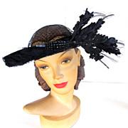 Vintage 50's Elsa Schiaparelli Black Hat