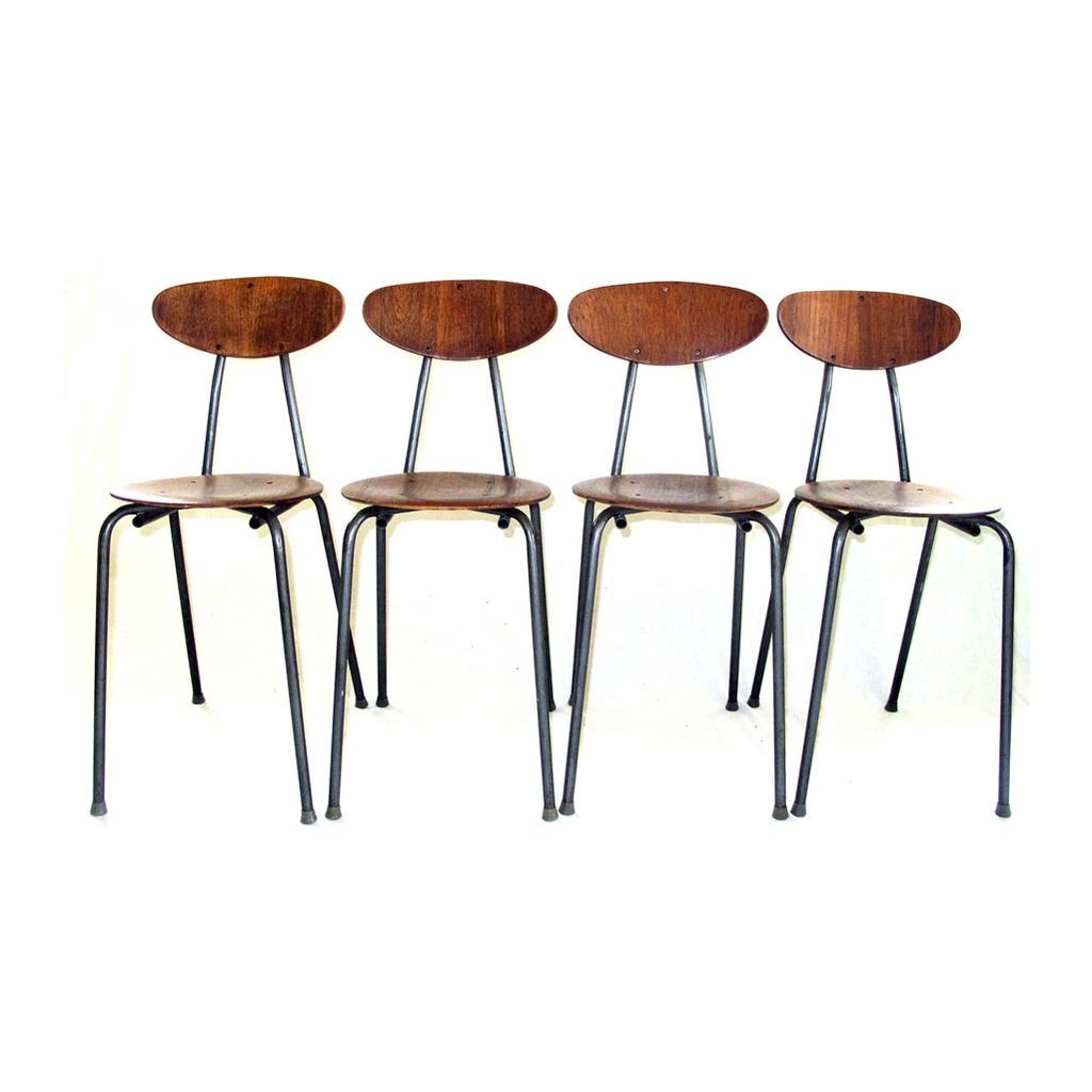 Mid Century Modern Bentwood Metal Chairs Set of Four Orchestra Music Class