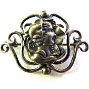 Antique Sterling Silver Art Nouveau Woman Pin Brooch
