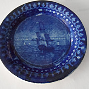 Dark Blue Staffordshire Toddy Plate