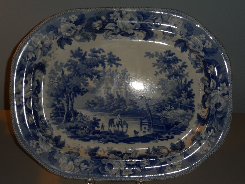 Transferware Blue and White Platter by Davenport