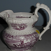 Purple and White Transferware Jug