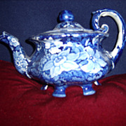 Dark Blue Staffordshire 3 piece  floral tea set
