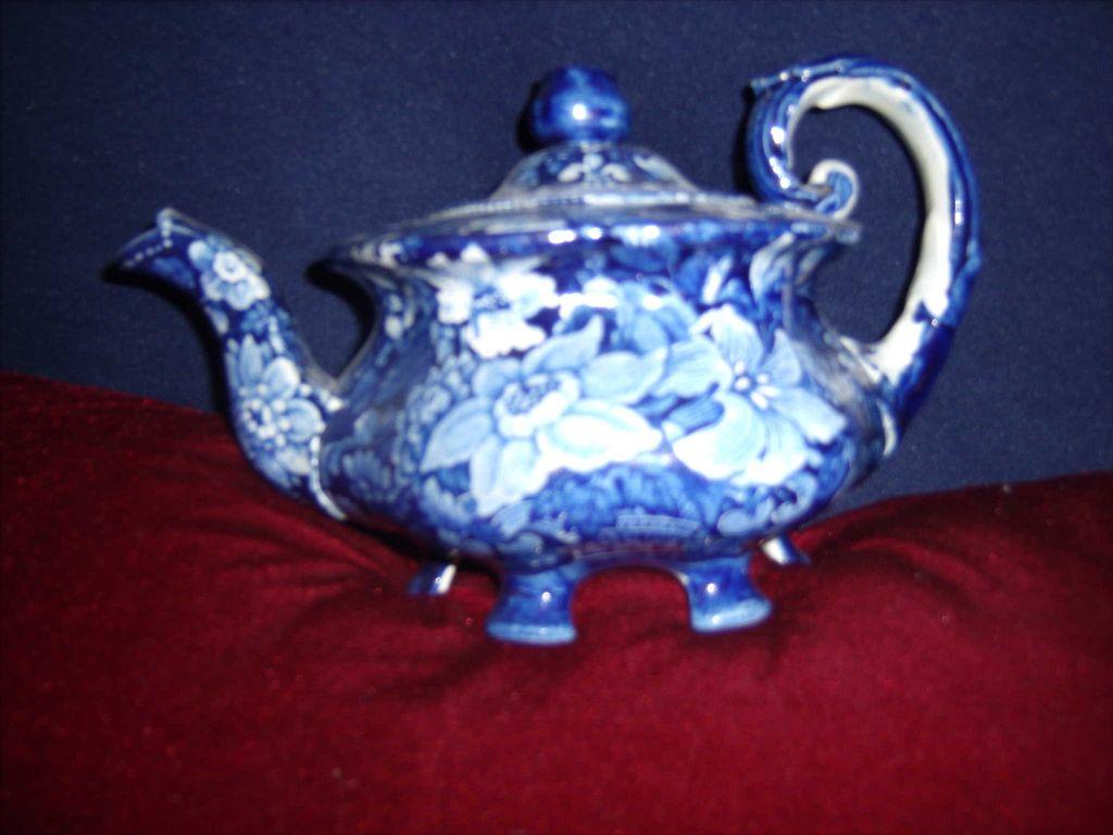 Dark Blue Staffordshire 3 piece  floral tea set