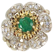 Vintage Glam Emerald and Diamond Gold Ring