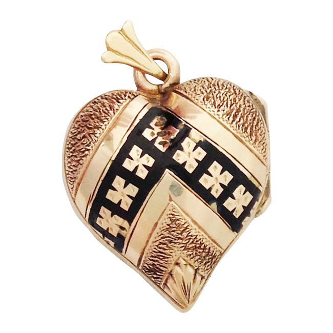 Victorian Taille d'Epargné Rose Gold Covered Heart Locket