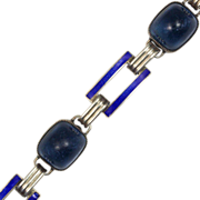 Art Deco Blue Enamel and Glass Bracelet