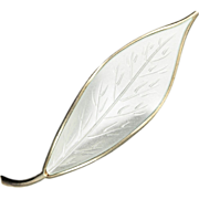 David Andersen Large White Leaf Sterling Silver Brooch
