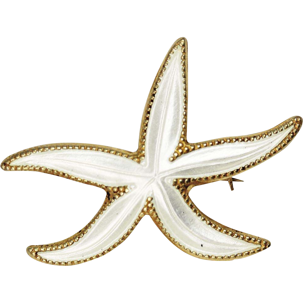 David Andersen White Enamel Sterling Silver Starfish Brooch