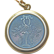**SALE** Edwardian Giardinetto Blue Guilloche Enamel 14kt Gold Locket and Chain