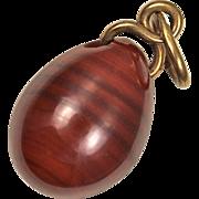 Antique Victorian Tsarist Russian Jasper 14kt Gold Easter Egg Pendant or Charm - Hallmarked
