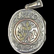 Victorian Aesthetic Movement Silver and Gold Locket 1881 Birmingham Hallmarks