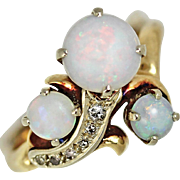 Art Deco Opal and Diamond 14kt Gold Ring