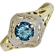 Art Deco .65ct Blue Diamond White and Yellow Gold Filigree Solitaire Ring