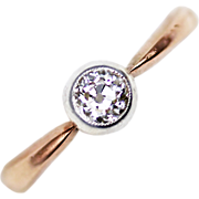 Antique Russian Diamond Solitaire Engagement Ring in 14kt Rose Gold and Platinum