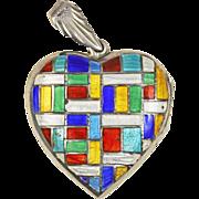Modernist Enamel Sterling Silver Heart Locket
