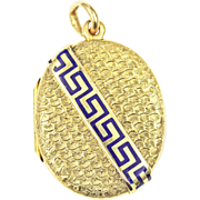 Victorian Etruscan Revival 14kt Gold and Enamel Greek Key Locket