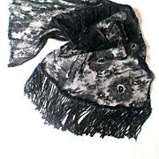 Spectacular Victorian Floral Black Lace Swag, Scarf