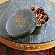 Antique Oak Round Covered Box Stenciled, Pine Cones