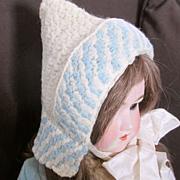 Victorian Knit Bonnet Wide Silk Ties