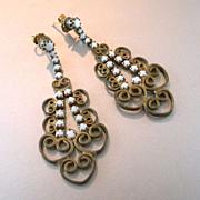 Deco Milk Glass Filigree Long Dangle Earrings 1930's