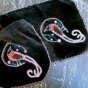 Art Deco Glass Beaded Birds Velvet Long Dresser Scarf
