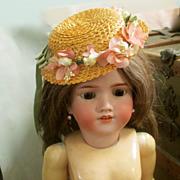 Vintage Straw & Silk Flowers Doll Hat